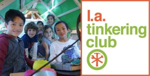 smiling children and logo for la tinkering club