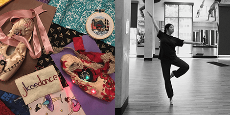 Photo of It's Sew Lit projects, photo of Jessica Koe dancing