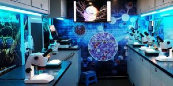 photo of lab with microscopes