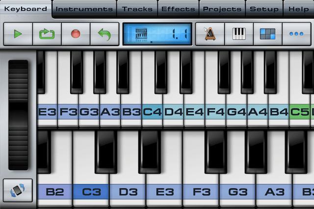 Music StudioのKeyboardを2段にした時