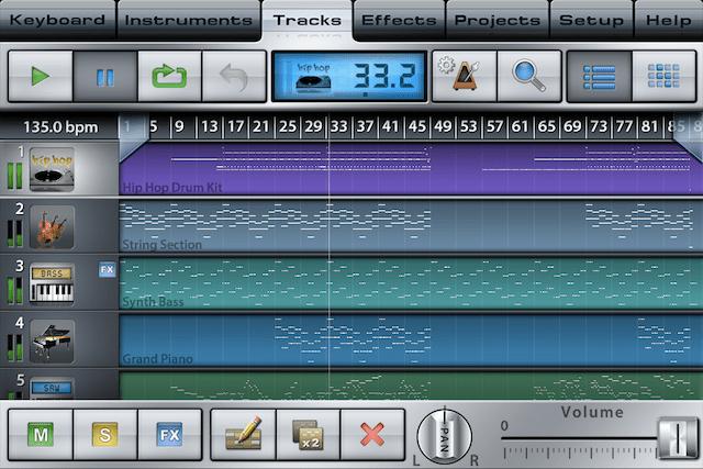Music StudioのTracks画面