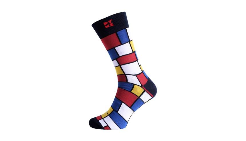 Mondrian Mania Midnight Silver Odorless Socks