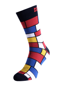 Funky Mondrian Striped Silver Socks