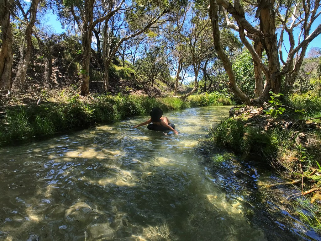 Floating down Eli Creek on Fraser Island