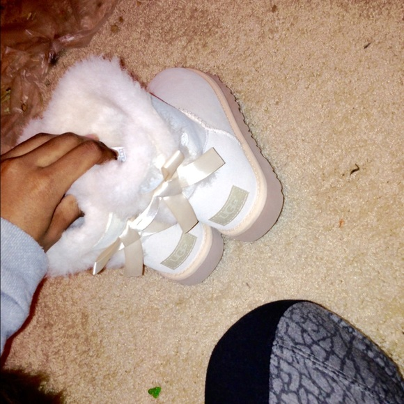 32 Off UGG Boots Salt White Mini Bailey Bows Uggs From