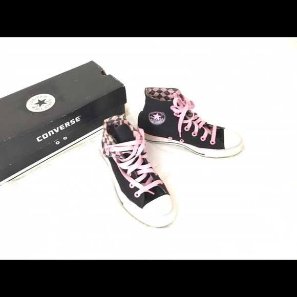 Pink And Black Folded Converse High Tops