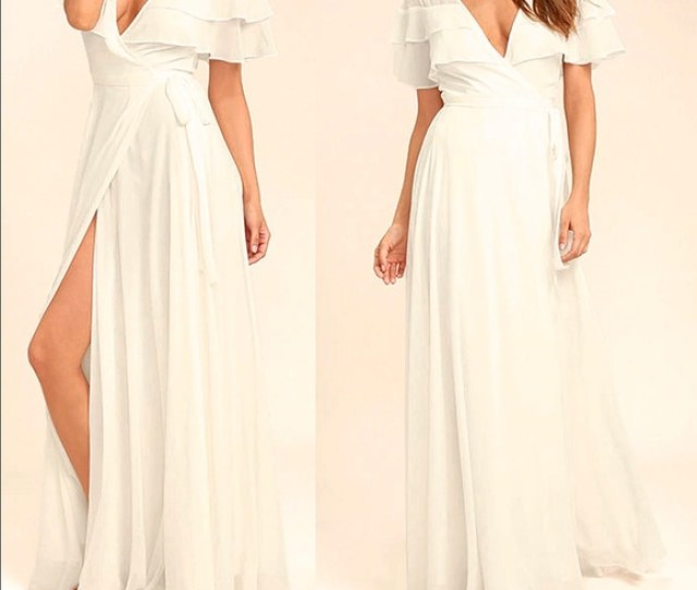 Lulus Wonderful Day White Wrap Maxi Dress
