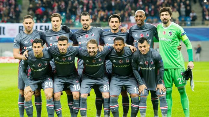 Besiktas' players pose for a team photo prior to the UEFA Champions League group G football match RB Leipzig vs Besiktas in Leipzig, eastern Germany, on December 6, 2017.