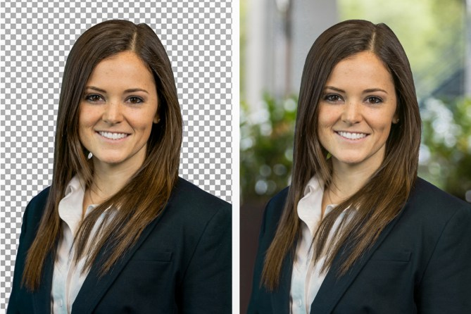 dallas green screen photography headshots of a woman with side by side photos. One is transparent, the other has a pretty office background.