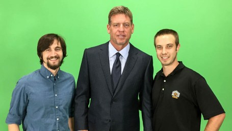 Jonny and Michael of DTX media Dallas video production posing with Troy AIkman