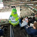 Mascot walking up stairs at a Dallas Stars game.