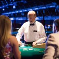 A casino dealer at corporate event