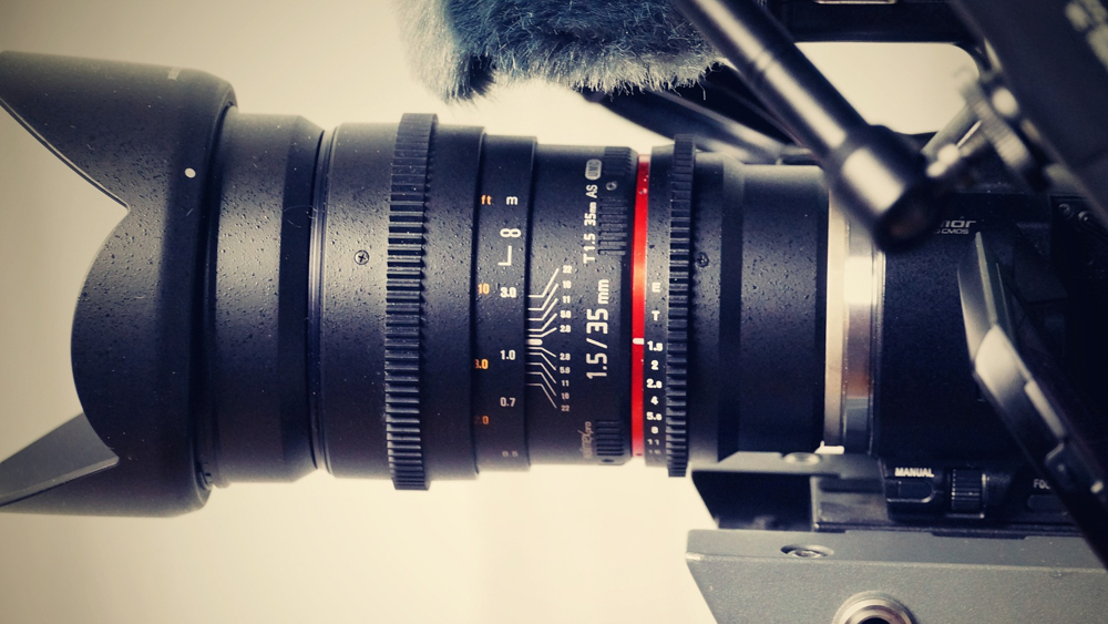 A close up picture of a video production camera lens.