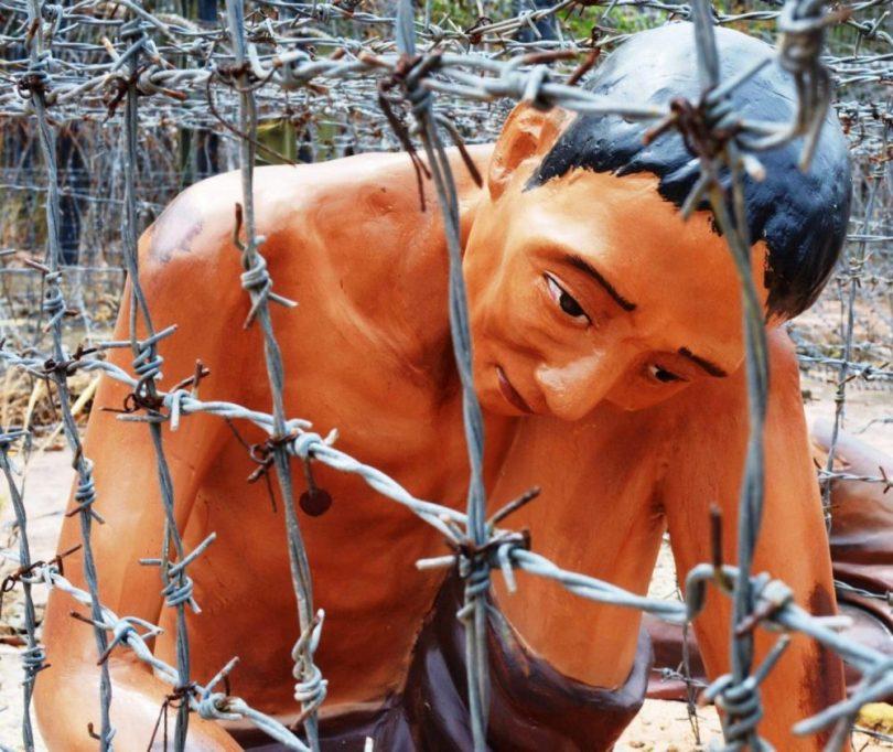 Các mẫu trưng bày trong Nhà tù Phú Quốc để mô tả lịch sử khốc liệt thời chiến tranh