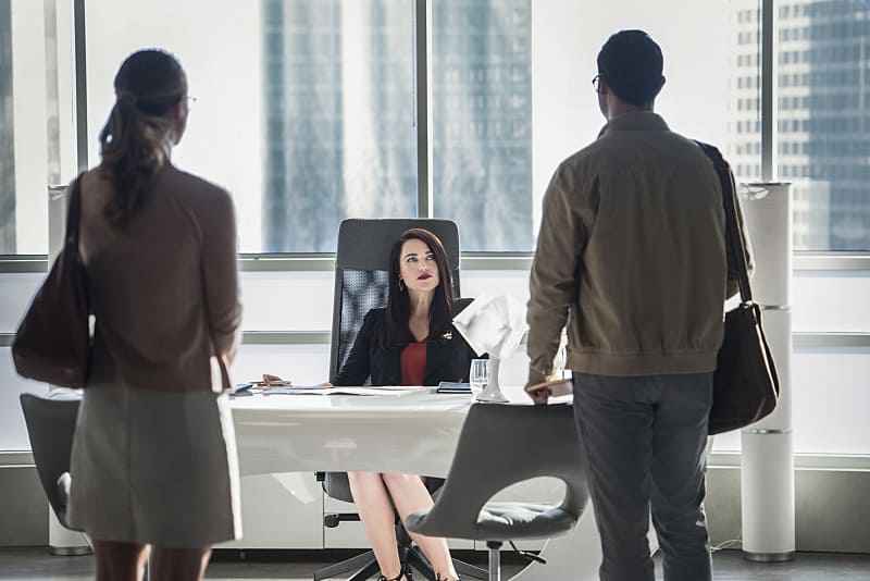 """Supergirl -- """"The Adventures Of Supergirl"""" -- Image SPG201a_0017 -- Pictured (L_R) Melissa Benoist Kara, Katie McGrath as Lena Luthor, and Tyler Hoechlin as Clark -- Photo: Diyah Pera/The CW -- © 2016 The CW Network, LLC. All Rights Reserved"""