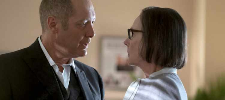 "THE BLACKLIST -- ""Mato #66"" Episode 402 -- Pictured: (l-r) James Spader as Raymond ""Red"" Reddington, Susan Blommaert as Mr. Kaplan -- (Photo by: Peter Kramer/NBC)"