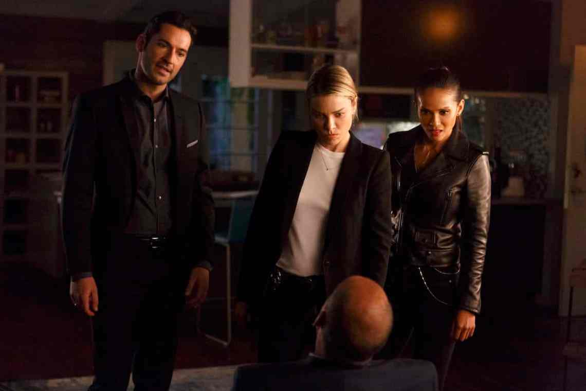 "LUCIFER: L-R: Tom Ellis, Lauren German and Lesley-Ann Brandt in the ""My Little Monkey"" episode of LUCIFER airing Monday, Nov. 7 (9:01-10:00 PM ET/PT) on FOX. ©2016 Fox Broadcasting Co. Cr: Michael Courtney/FOX."