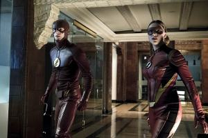 """The Flash -- """"The New Rouges"""" -- Image FLA304a_0085b.jpg -- Pictured (L-R): Grant Gustin as The Flash and Violett Beane as Jesse Quick -- Photo: Katie Yu/The CW -- © 2016 The CW Network, LLC. All rights reserved."""