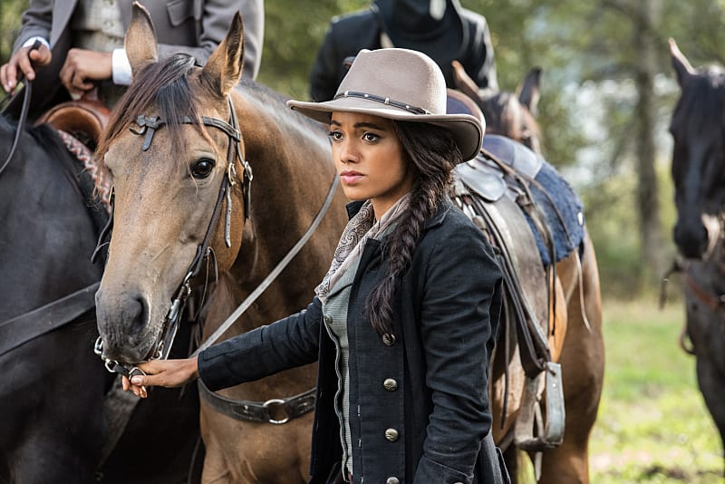"""DC's Legends of Tomorrow --""""Outlaw Country""""-- Image LGN206a_0310.jpg -- Pictured: Maisie Richardson- Sellers as Amaya Jiwe/Vixen -- Photo: Dean Buscher/The CW -- © 2016 The CW Network, LLC. All Rights Reserved."""