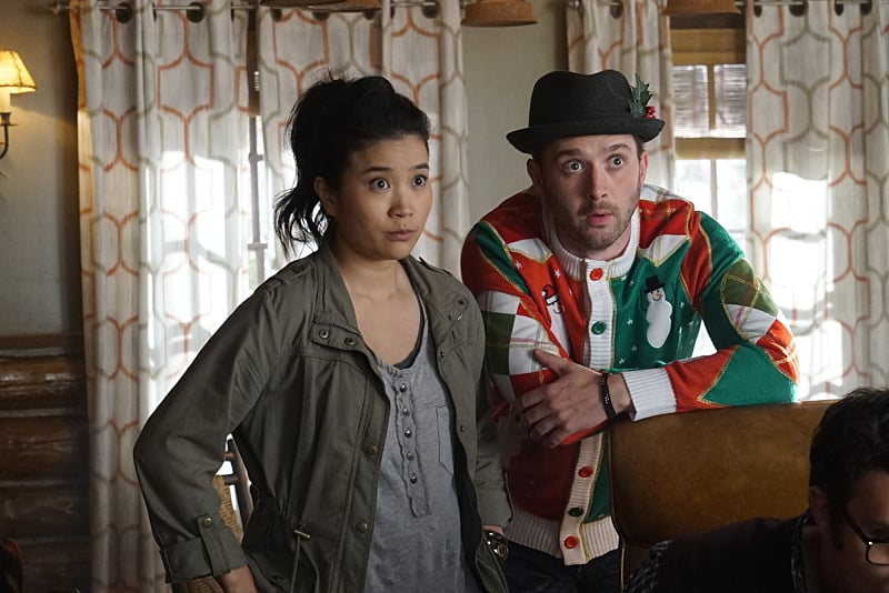 """""""Wreck the Halls"""" -- It's Christmas Eve and Team Scorpion's electronics-free mountain getaway turns deadly when they come across gun-runners, and Ralph is kidnapped when they try to escape. Also, Tim makes an important decision about his position with Team Scorpion, on SCORPION, Monday, Dec. 19 (10:00-11:00 PM, ET/PT) on the CBS Television Network. Pictured: Jadyn Wong, Eddie Kaye Thomas. Photo: Monty Brinton/CBS ©2016 CBS Broadcasting, Inc. All Rights Reserved"""