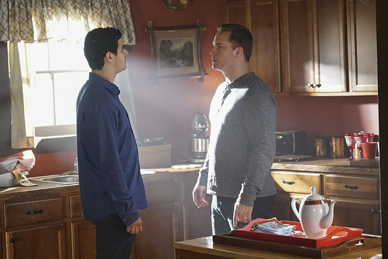 """""""Wreck the Halls"""" -- It's Christmas Eve and Team Scorpion's electronics-free mountain getaway turns deadly when they come across gun-runners, and Ralph is kidnapped when they try to escape. Also, Tim makes an important decision about his position with Team Scorpion, on SCORPION, Monday, Dec. 19 (10:00-11:00 PM, ET/PT) on the CBS Television Network. Pictured: Elyes Gabel, Scott Porter. Photo: Monty Brinton/CBS ©2016 CBS Broadcasting, Inc. All Rights Reserved"""