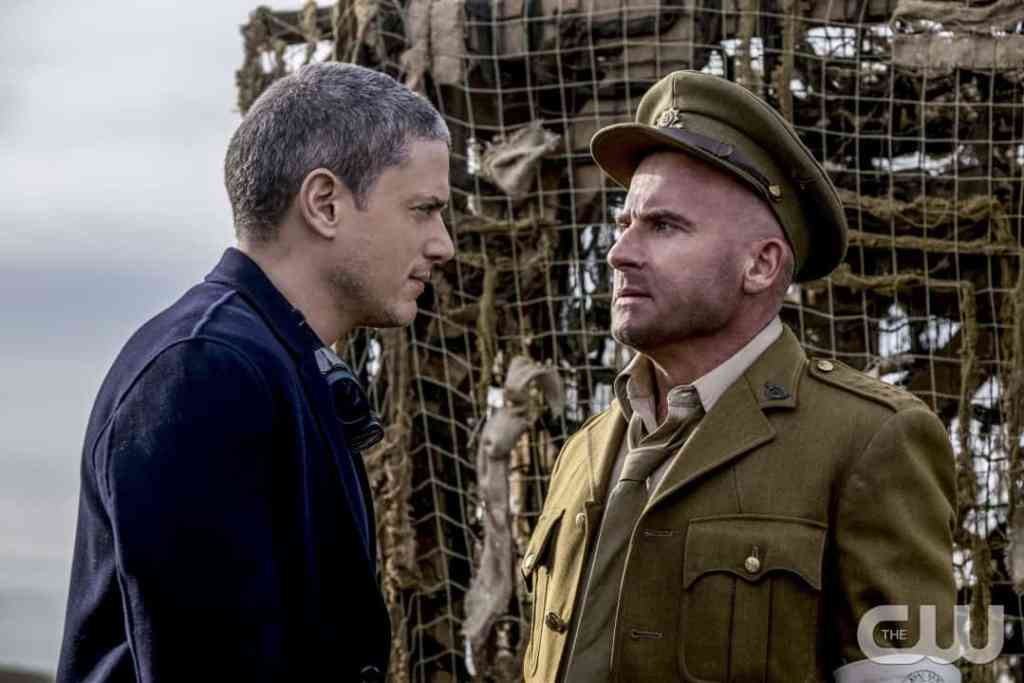 """DC's Legends of Tomorrow --""""Fellowship of the Spear""""-- LGN215b_0155b.jpg -- Pictured (L-R): Wentworth Miller as Leonard Snart/Captain Cold and Dominic Purcell as Mick Rory/Heat Wave -- Photo: Cate Cameron/The CW -- © 2017 The CW Network, LLC. All Rights Reserved."""
