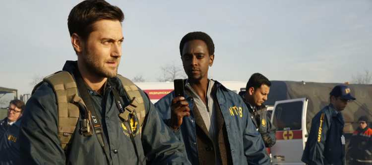 """THE BLACKLIST: REDEMPTION -- """"Independence, U.S.A."""" Episode 102 -- Pictured: (l-r) Ryan Eggold as Tom Keen, Edi Gathegi as Solomon -- (Photo by: Will Hart/NBC)"""