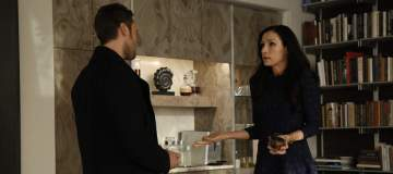 "THE BLACKLIST: REDEMPTION -- ""Borealis 301"" Episode 105 -- Pictured: (l-r) Ryan Eggold as Tom Keen, Famke Janssen as Susan ""Scottie"" Hargrave -- (Photo by: Will Hart/NBC)"