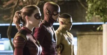 """The Flash -- """"Attack on Central City"""" -- FLA314a_0088b.jpg -- Pictured (L-R): Violett Beane as Jesse Quick, Grant Gustin as The Flash and Keiynan Lonsdale as Kid Flash -- Photo: Katie Yu/The CW -- © 2017 The CW Network, LLC. All rights reserved."""