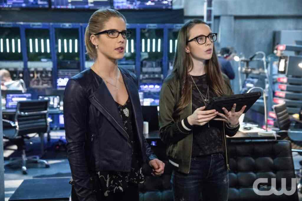 "Arrow -- ""Disbanded"" -- Image AR518b_0061b.jpg -- Pictured (L-R): Emily Bett Rickards as Felicity Smoak and Kacey Rohl as Alena -- Photo: Jack Rowand/The CW -- © 2017 The CW Network, LLC. All Rights Reserved."