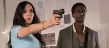 """THE BLACKLIST: REDEMPTION -- """"Whitehall: Conclusion"""" Episode 108 -- Pictured: (l-r) Famke Janssen as Susan """"Scottie"""" Hargrave, Edi Gathegi as Matias Solomon -- (Photo by: Jeff Neuman/NBC)"""