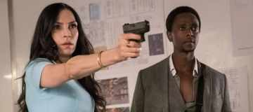 "THE BLACKLIST: REDEMPTION -- ""Whitehall: Conclusion"" Episode 108 -- Pictured: (l-r) Famke Janssen as Susan ""Scottie"" Hargrave, Edi Gathegi as Matias Solomon -- (Photo by: Jeff Neuman/NBC)"
