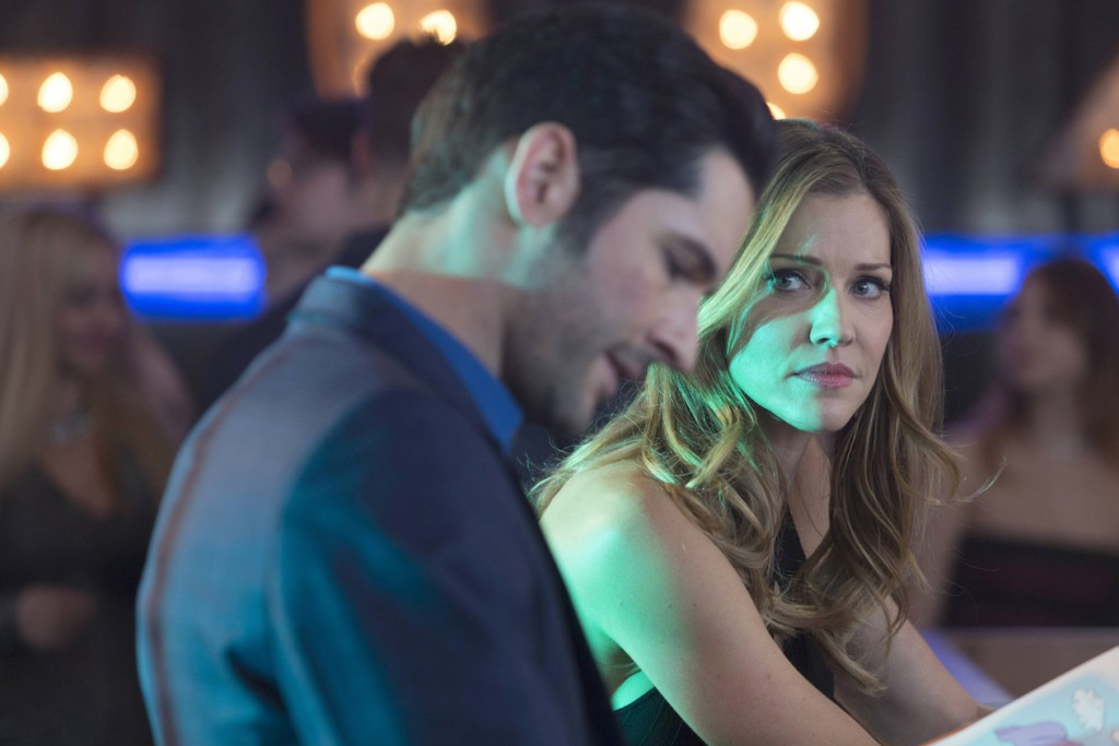 """LUCIFER: L-R: Tom Ellis and Trica Helfer in the """"Deceptive Little Parasite"""" episode of LUCIFER airing Monday, May 8 (9:01-10:00 PM ET/PT) on FOX. Cr: Michael Courtney/FOX"""