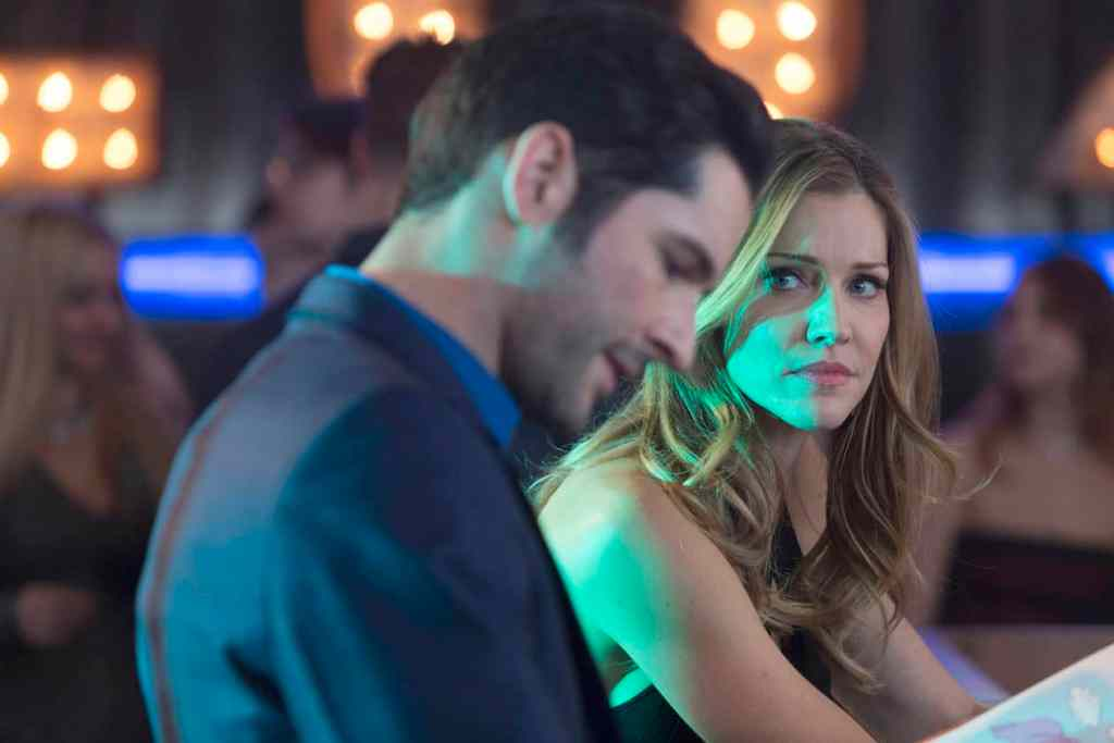 "LUCIFER: L-R: Tom Ellis and Trica Helfer in the ""Deceptive Little Parasite"" episode of LUCIFER airing Monday, May 8 (9:01-10:00 PM ET/PT) on FOX. Cr: Michael Courtney/FOX"