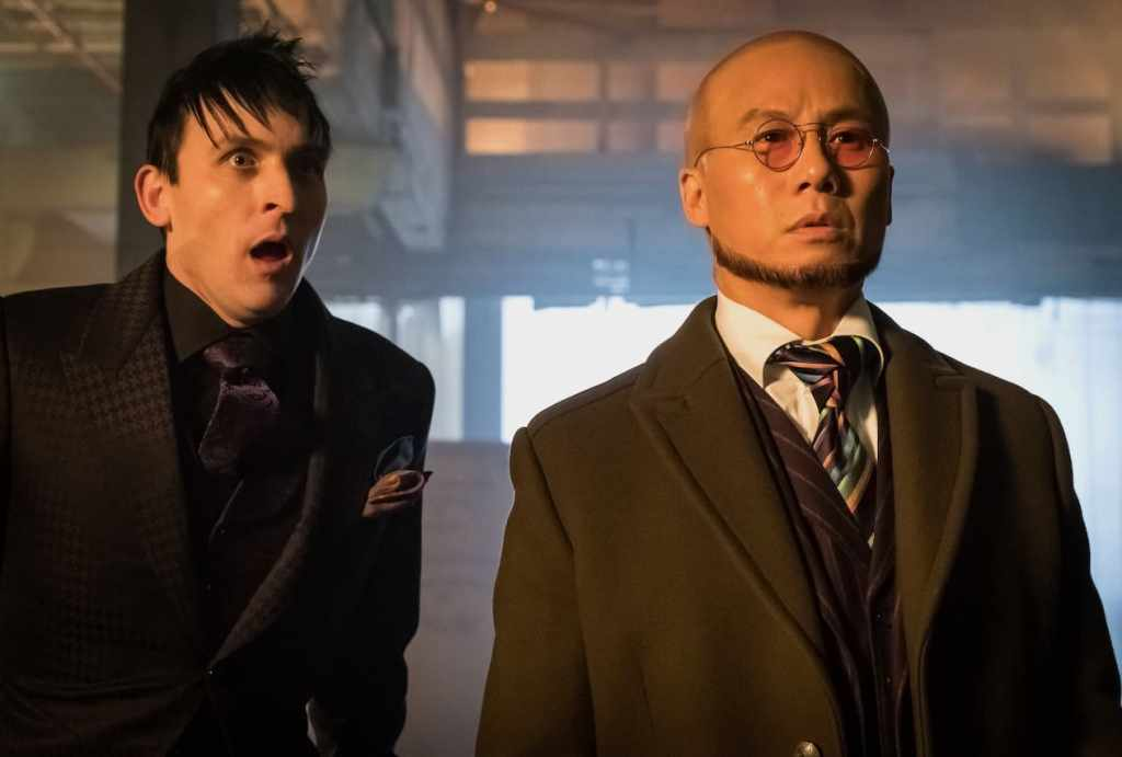"GOTHAM: L-R: Robin Lord Taylor and guest star BD Wong in the first half of the special two-hour season finale episode of GOTHAM, ""Heroes Rise: Destiny Calling,"" airing Monday, May 29 (8:00-9:00 PM ET/PT) on FOX.  Cr: Jeff Neumann/FOX"