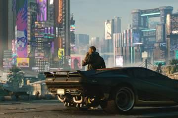Screenshot from Cyberpunk2077 man against car overlooking city