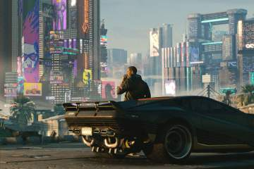 Screenshot from Cyberpunk2077 man against car overlooking city