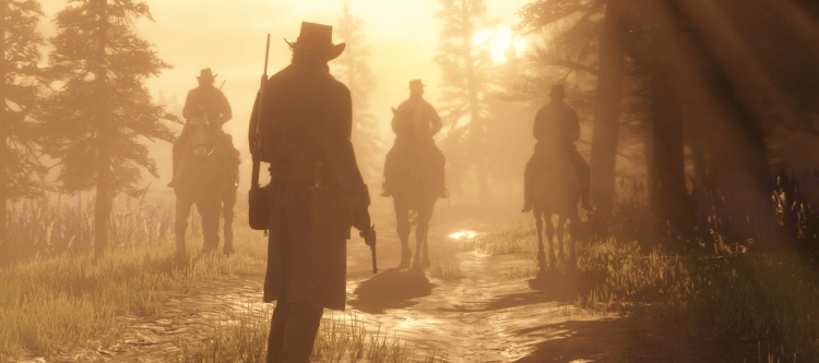Arthur Morgan facing the sun in red dead redemption 2