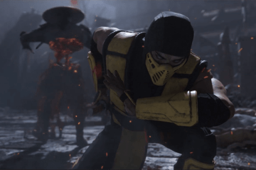 Scorpion kneeling after flying through Raiden in Mortal Kombat 11.