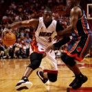 Dwyane Wade drives on defender