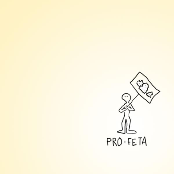 El Pro-Feta es un personaje que predica el consumo de productos lácteos tradicionales