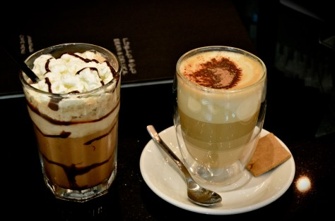 Chocolate frappe(dhs 20) and Cappuccino(dhs 19)