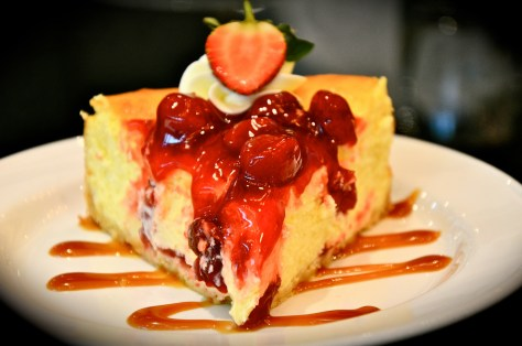 NEW YORK BAKED CHEESECAKE - dhs 30 topped with cherry filling