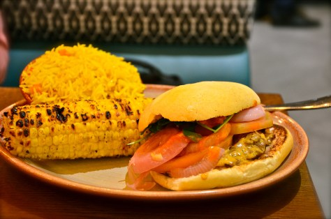 Steak burger - dhs 55 - with 2 regular sides(spicy rice and corn on the cob)