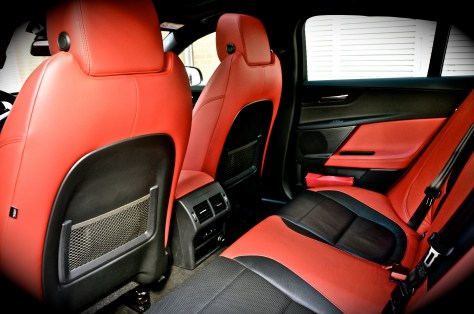 Rear seat space on the Jaguar XE S