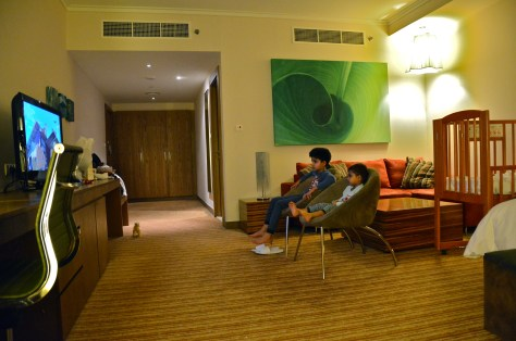 Kids enjoying their movie hour in the spacious 635 sqf of comfort