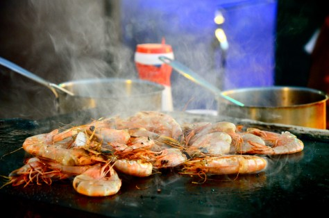 Sizzling Tiger prawns at Friday Beach Barbecue