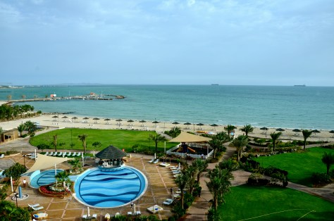 Our view from our Deluxe room windows at Danat Jebel Dhanna Resort