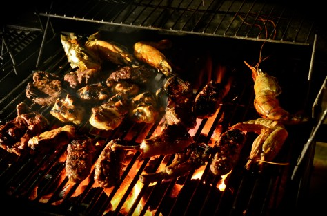 Barbeque served at Al Dhafrah Oasis private dinner