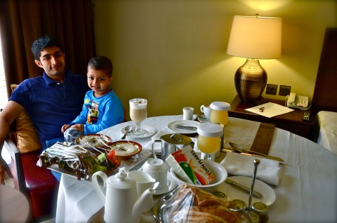 Our morning breakfast in our room at Tilal Liwa Hotel